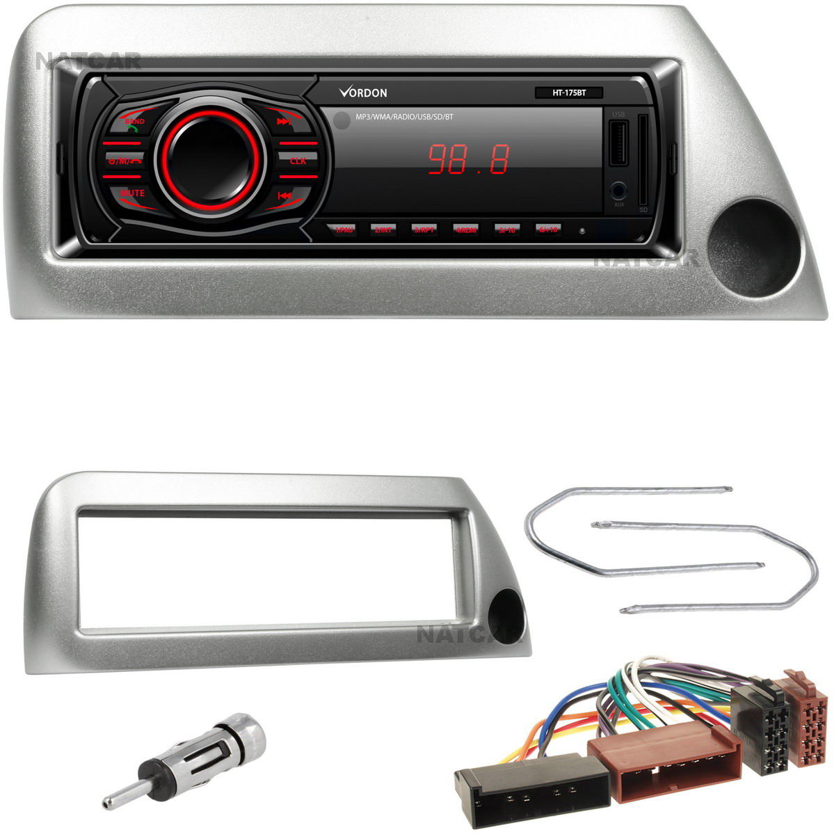 Radio Aux Usb Bluetooth Sd Ford Ka Ramka Srebrna