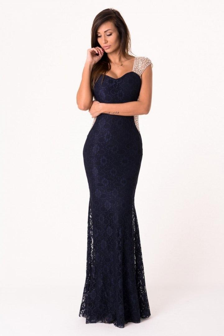 8862b5144a Sukienka koronkowa siateczka koktajlowa 1140 S M. Sukienka Model 17851 Navy