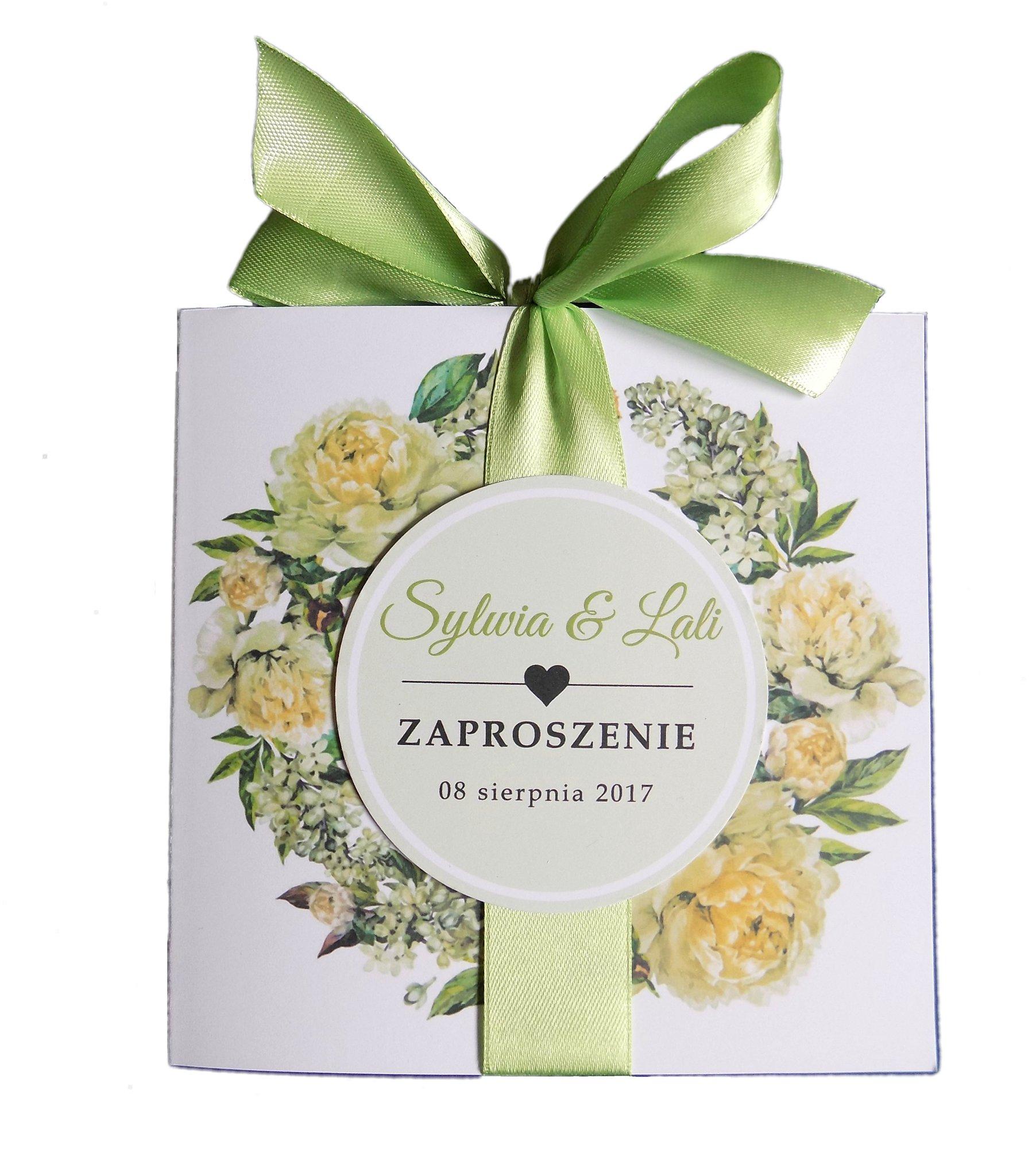 Zaproszenia ślubne Kwiaty Wianek Piwonia Greenery 6827583852