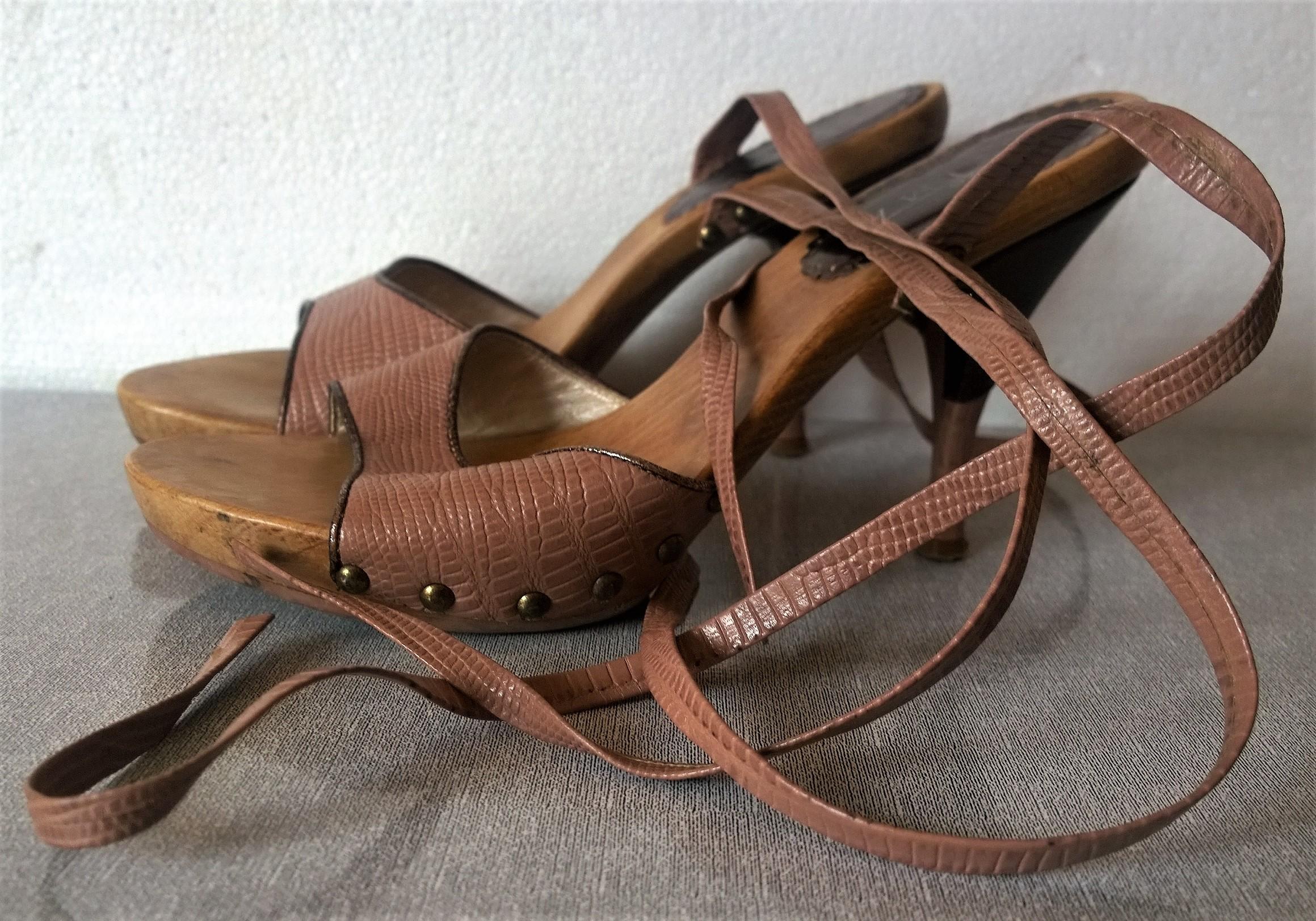 buty RYŁKO 37 skóra naturalna+drewno wiązane fiole