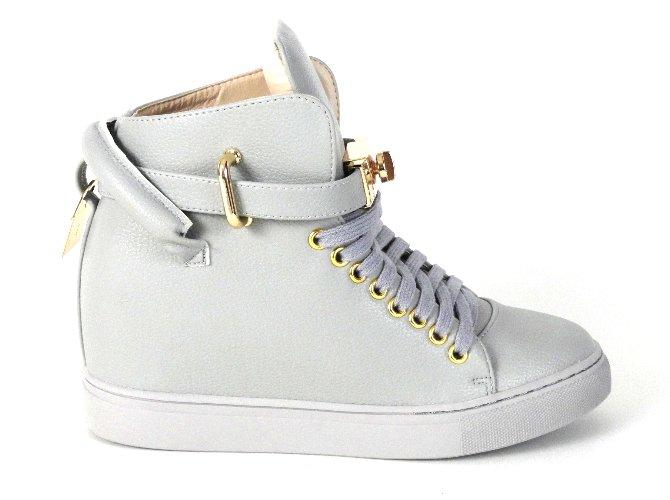 Hit blogerek szare sneakersy koturny rzepy lu boo Zdjęcie
