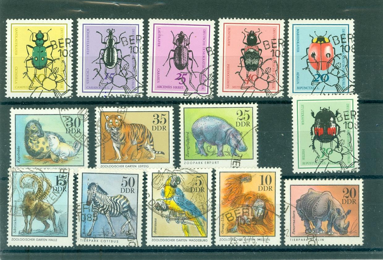 znaczki - DDR / - 2 serie /owady /ssaki -1968,1975