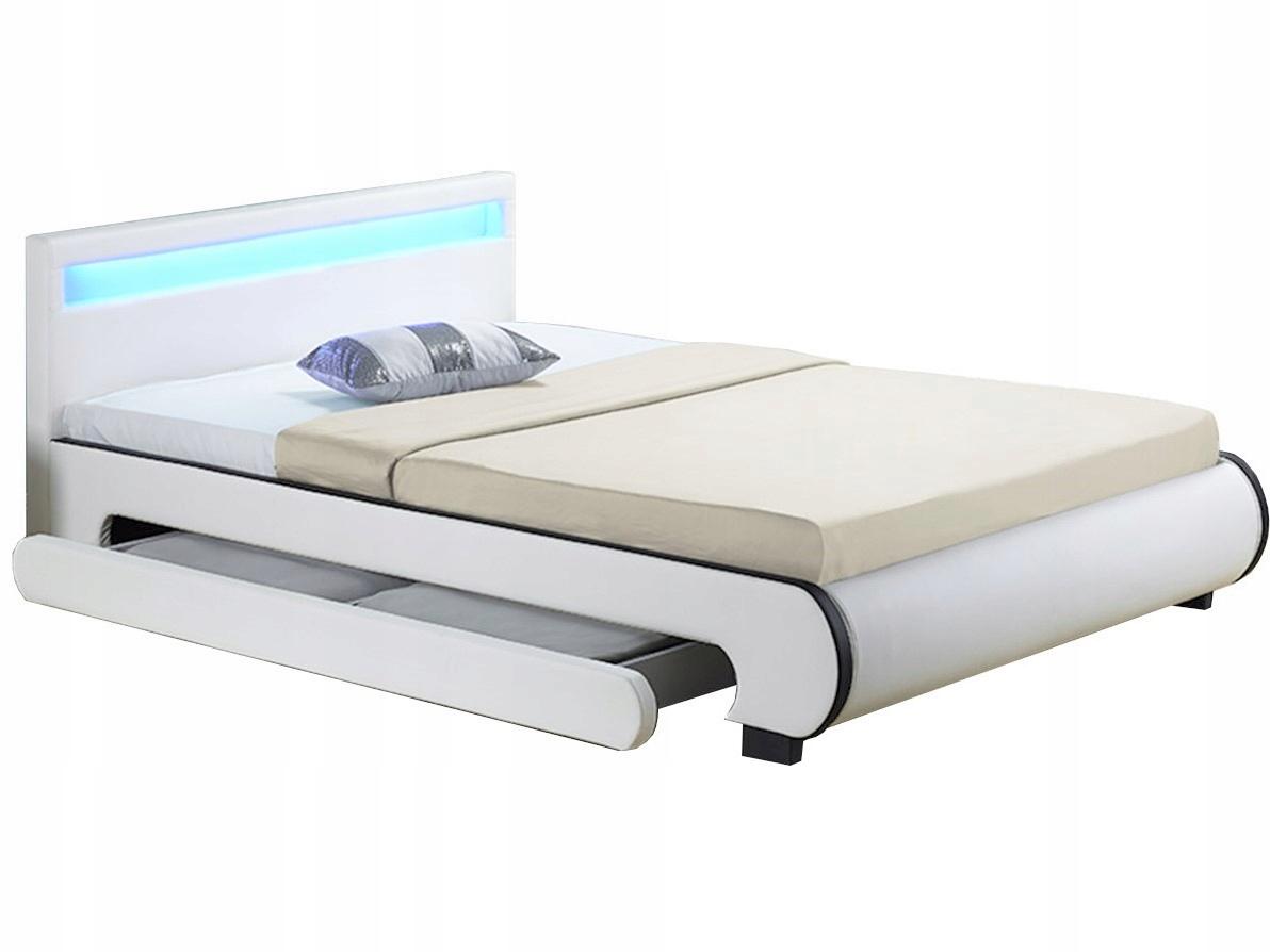łóżko Tapicerowane Skórzane 140x200 Led 934 7451618113 Oficjalne