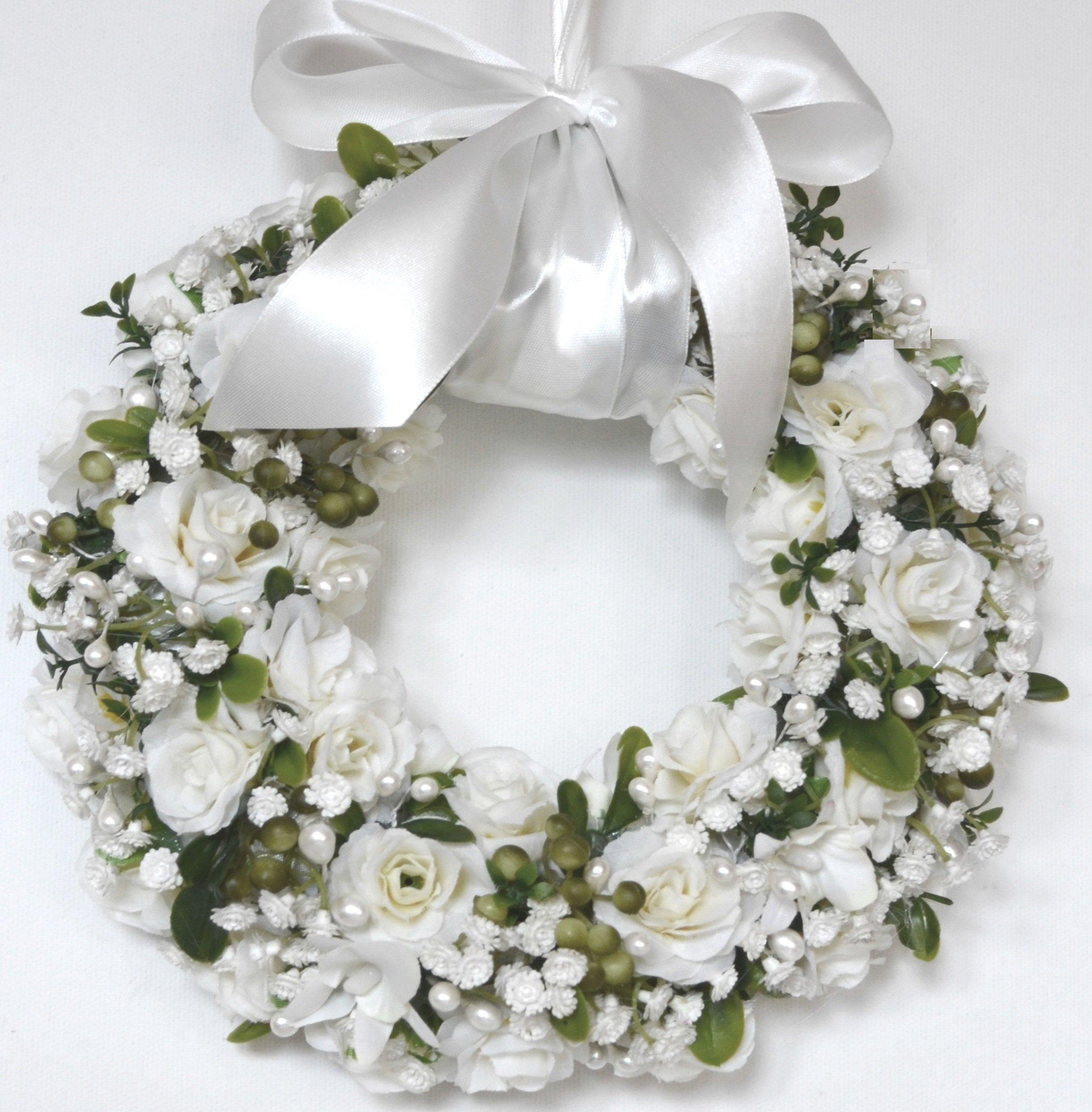Wianek Na Drzwi Dekoracja Wesele Białe Różyczki 6898944825