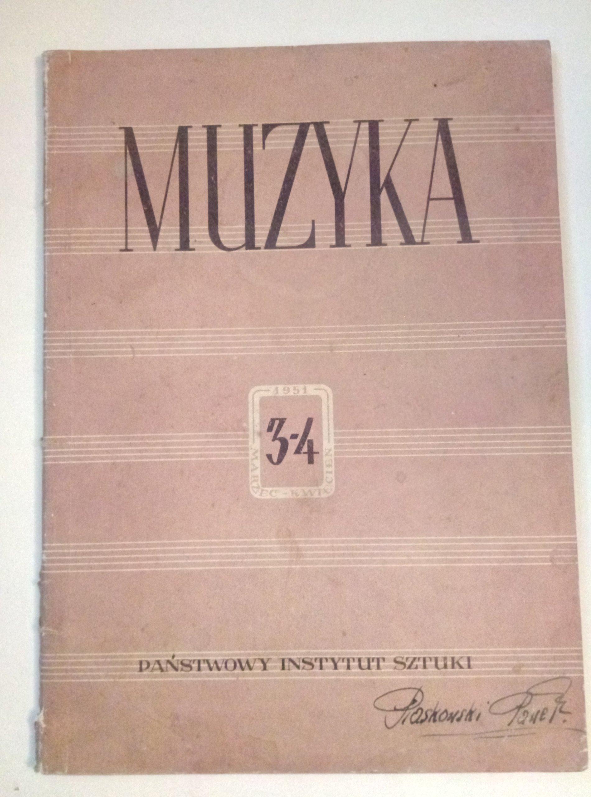 Muzyka 3-4 1951 Państwowy Instytut Sztuki