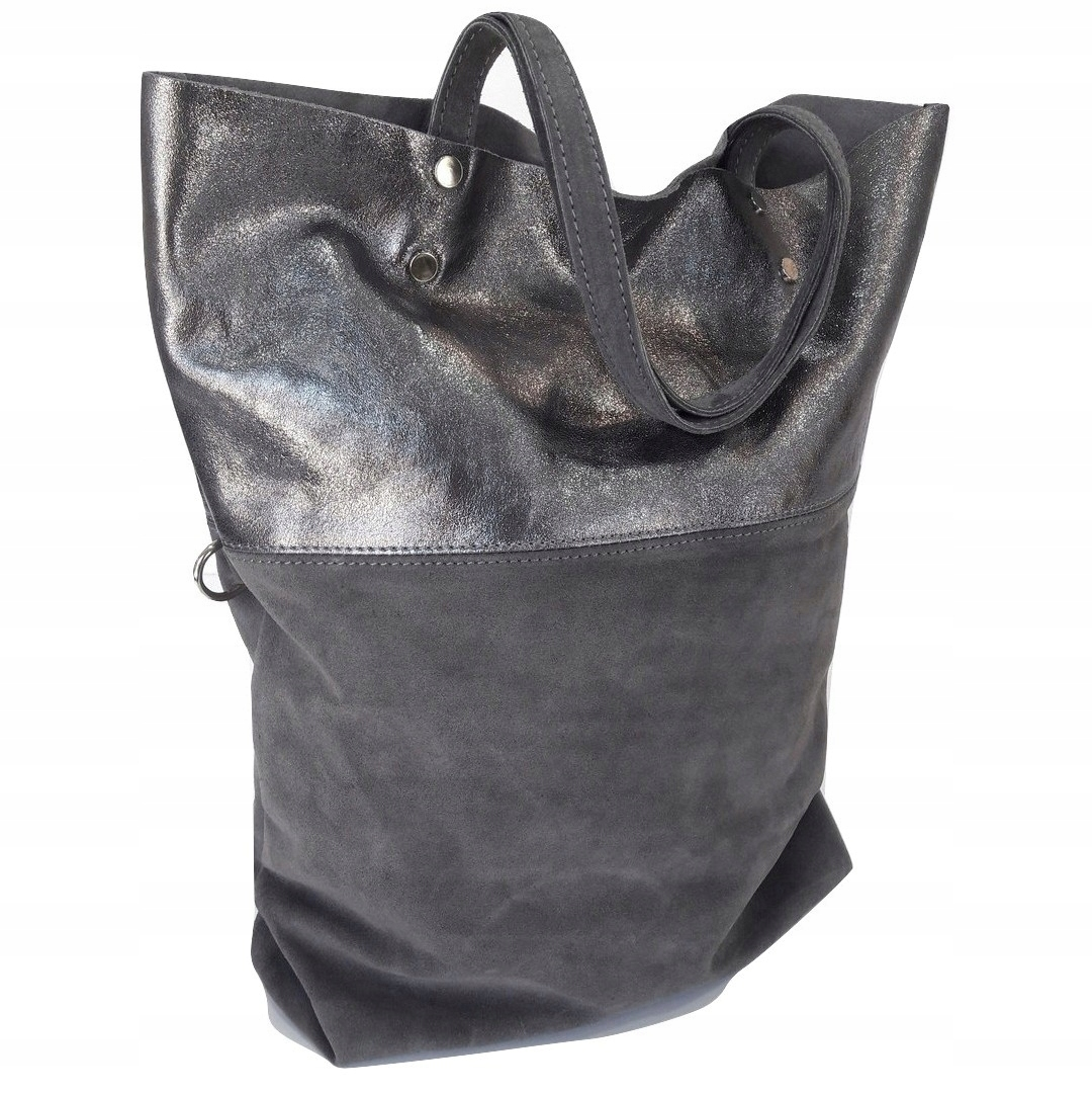 7aae845567c09d Torebka BORSE IN PELLE szara skóra shopper bag - 7515092324 ...