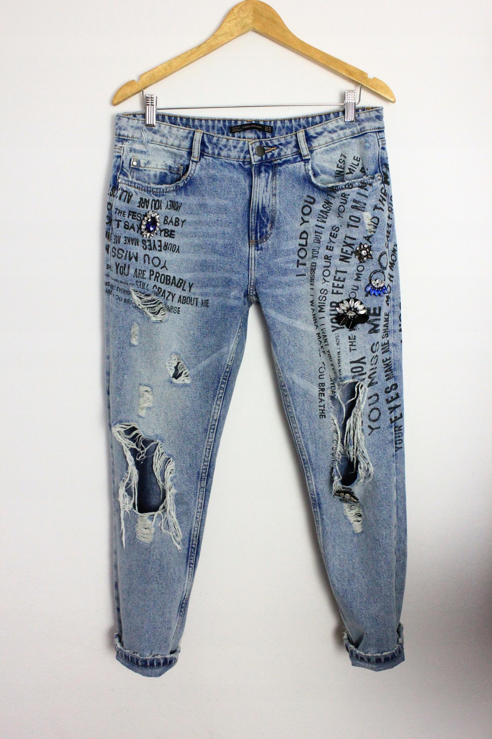 Zara Trf 40 Dziury Jeans Przetarcia L Boyfriend WE2IYHD9