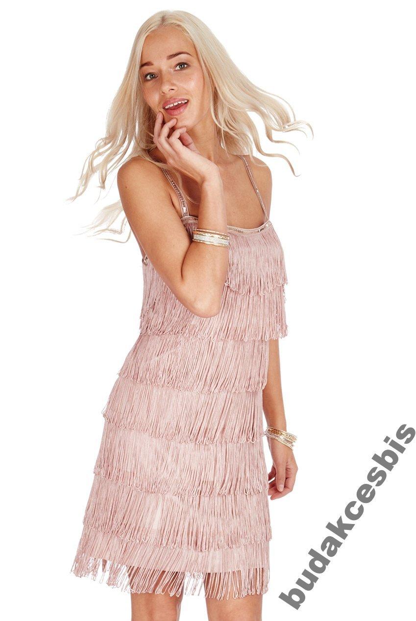 7673b68081 4Śliczna sukienka z frędzlami beż S - 7387186658 - oficjalne ...