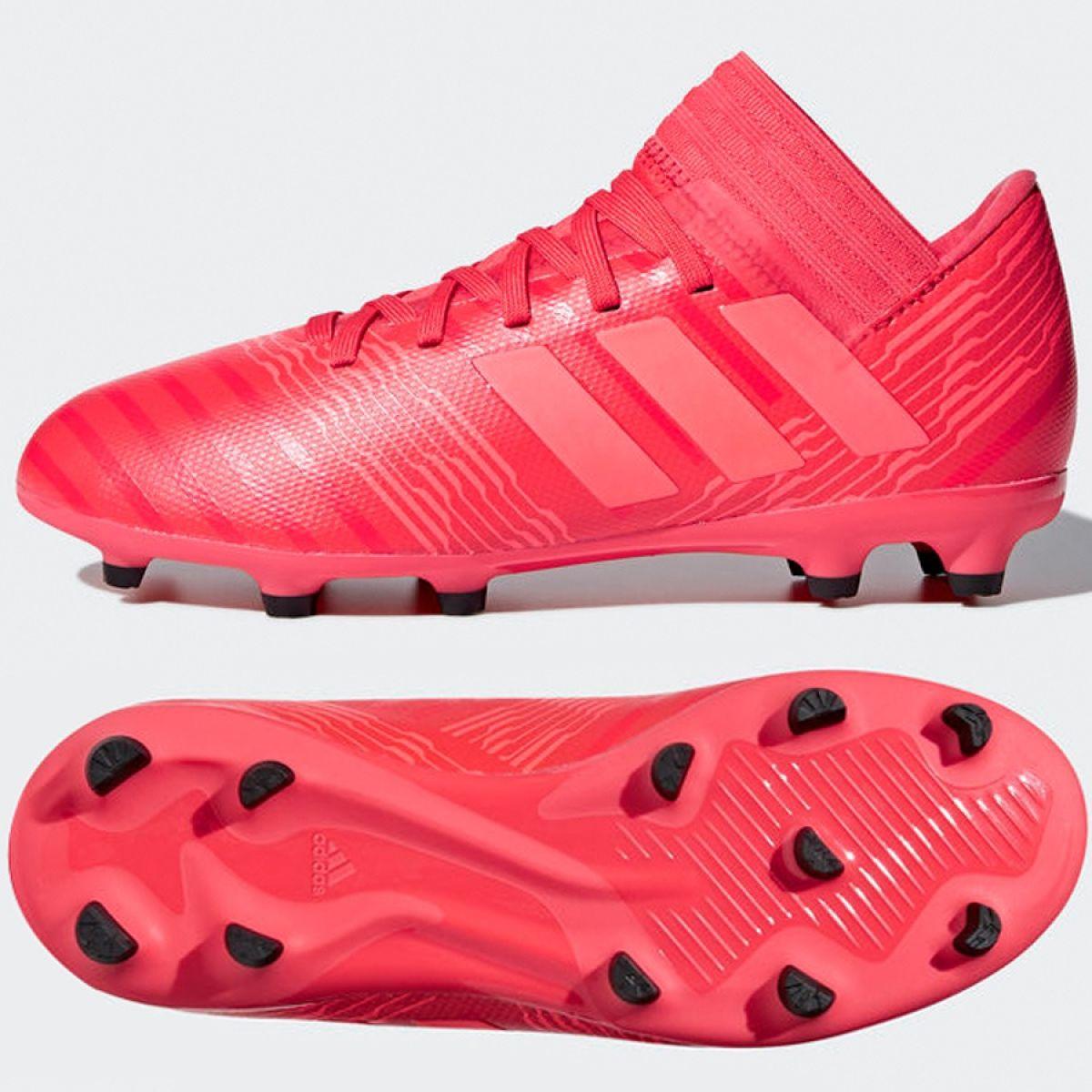 buty piłkarskie korki nemeziz 18+ fg adidas bordowy
