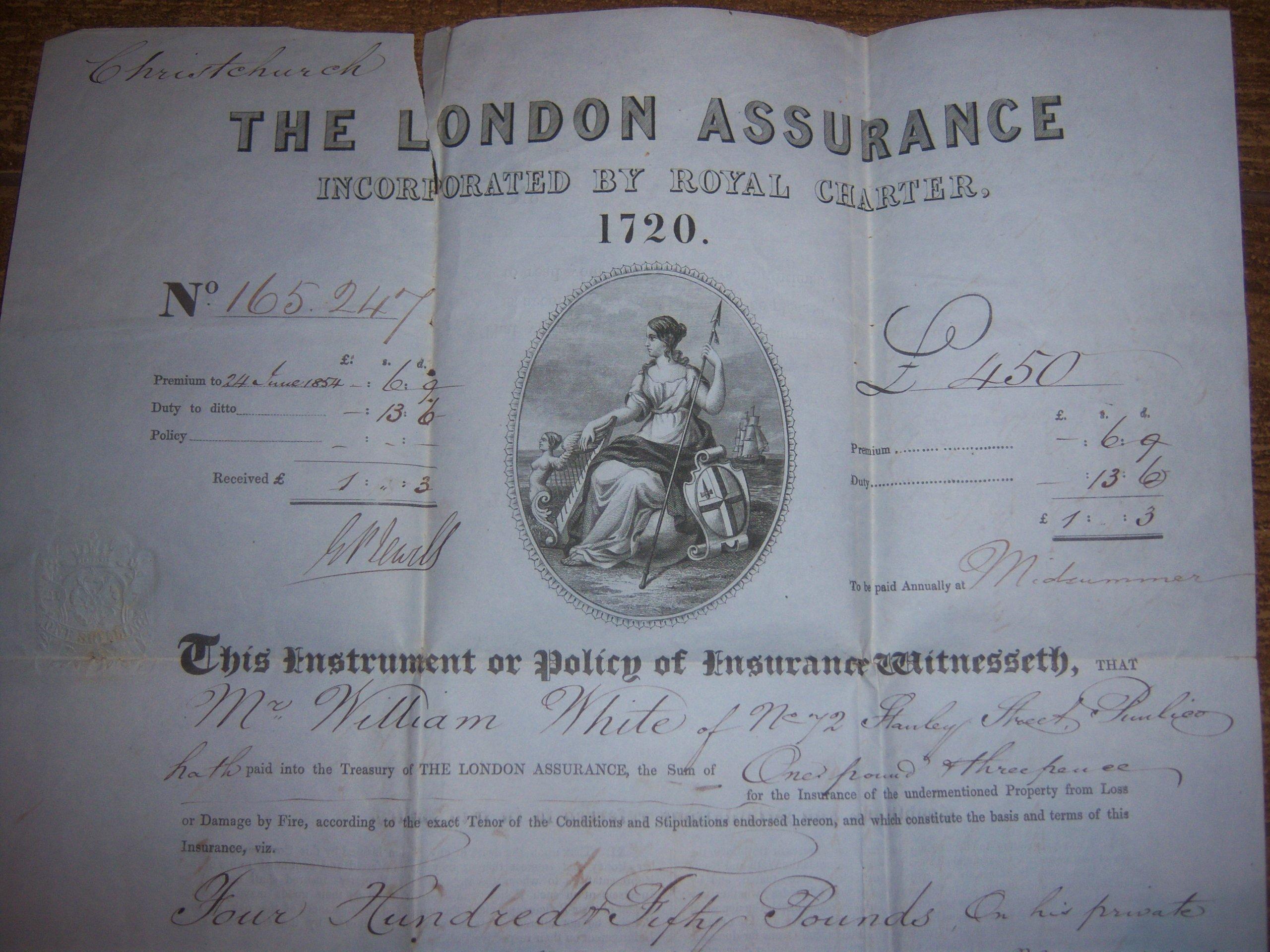 ANGLIA WIELKA POLISA LONDON ASSURANCE Z 1853 ROKU