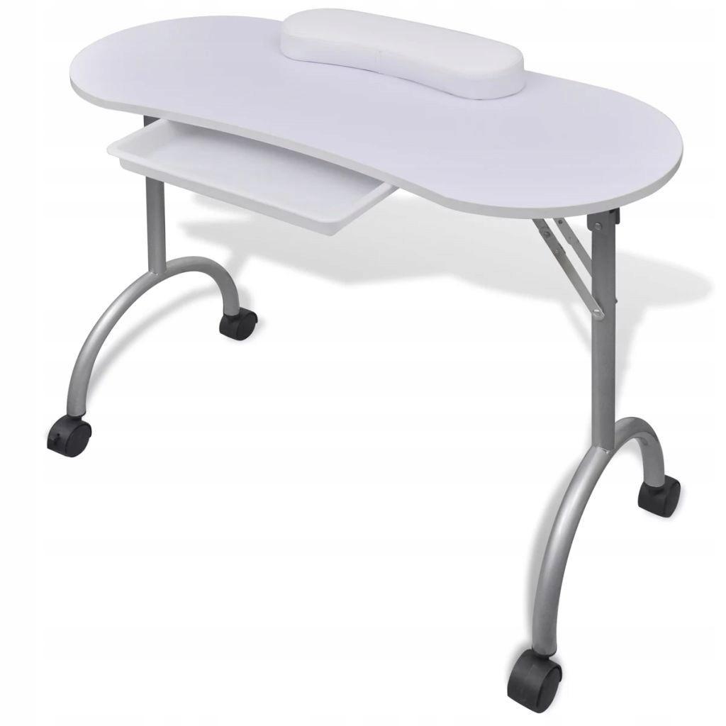 Składany Stolik Do Manicure Biały Z Kółkami 066