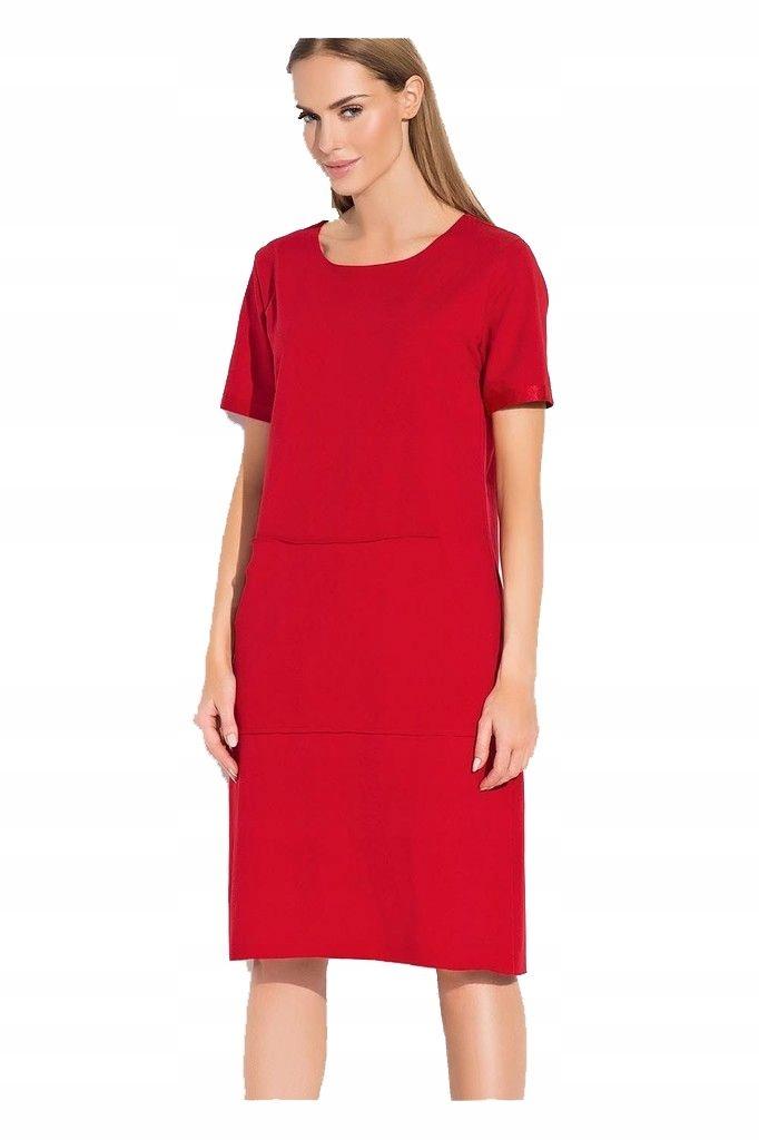 fcf9d3745e Makadamia M287 38 czerwony sukienka dresowa - 7479008049 - oficjalne ...