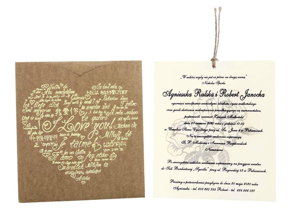 Zaproszenia ślubne Na ślub Tłoczone Personalizacja 7116418423