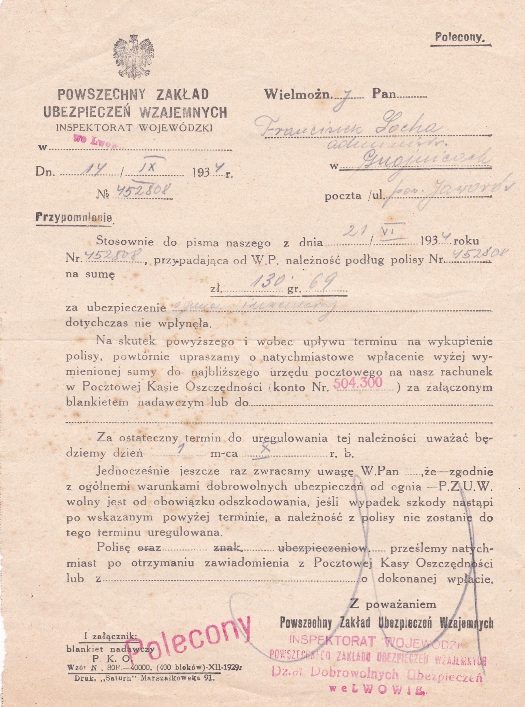 Dokument PZU Wzajemnych -1934 r.