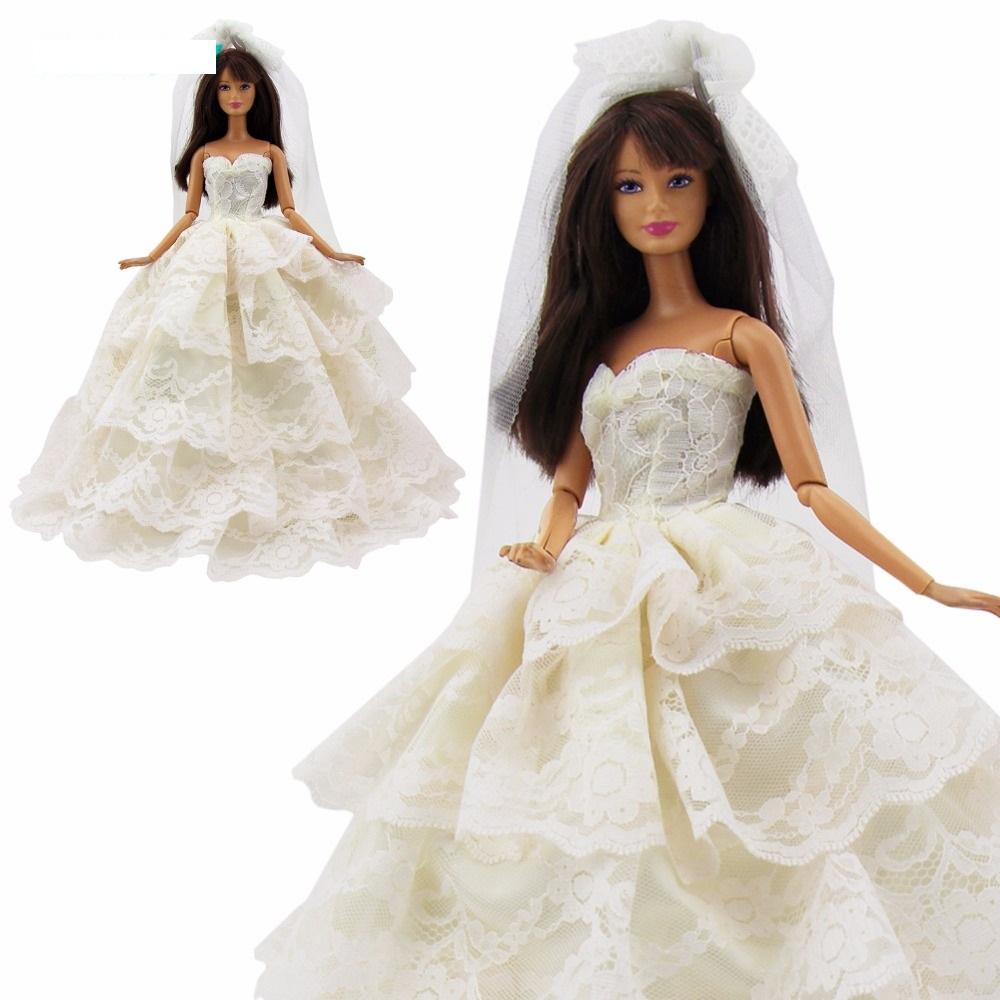 Suknia ślubna Lalka Barbie Panna Młoda Koronkowa 7412082598