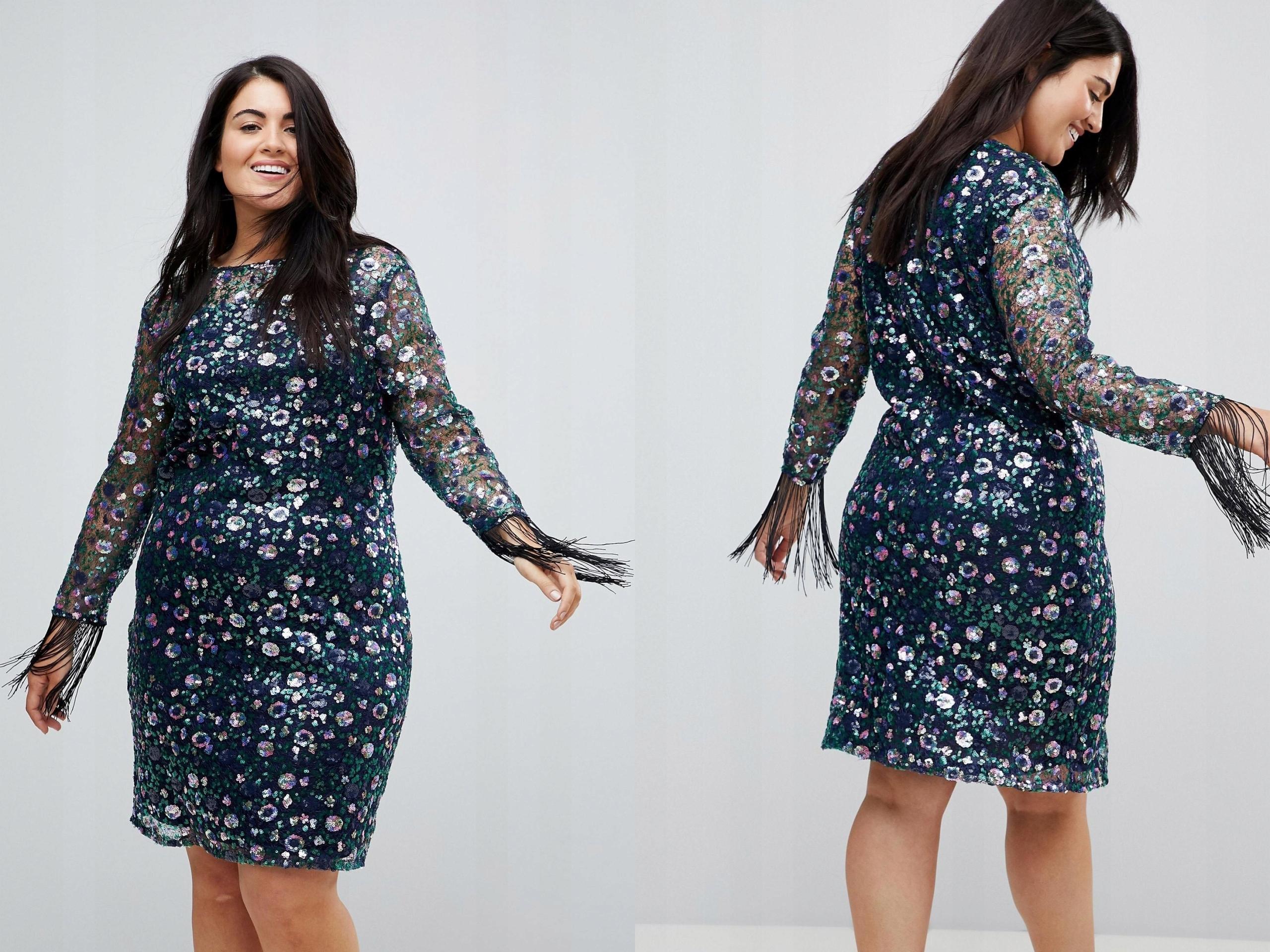54091741b6 Unique kolorowa cekinowa sukienka mini 3XL 46 - 7443734902 ...