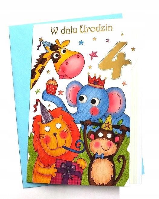 Kartka 4 Urodziny 4 Latka życzenia Dziecka 7251561544 Oficjalne