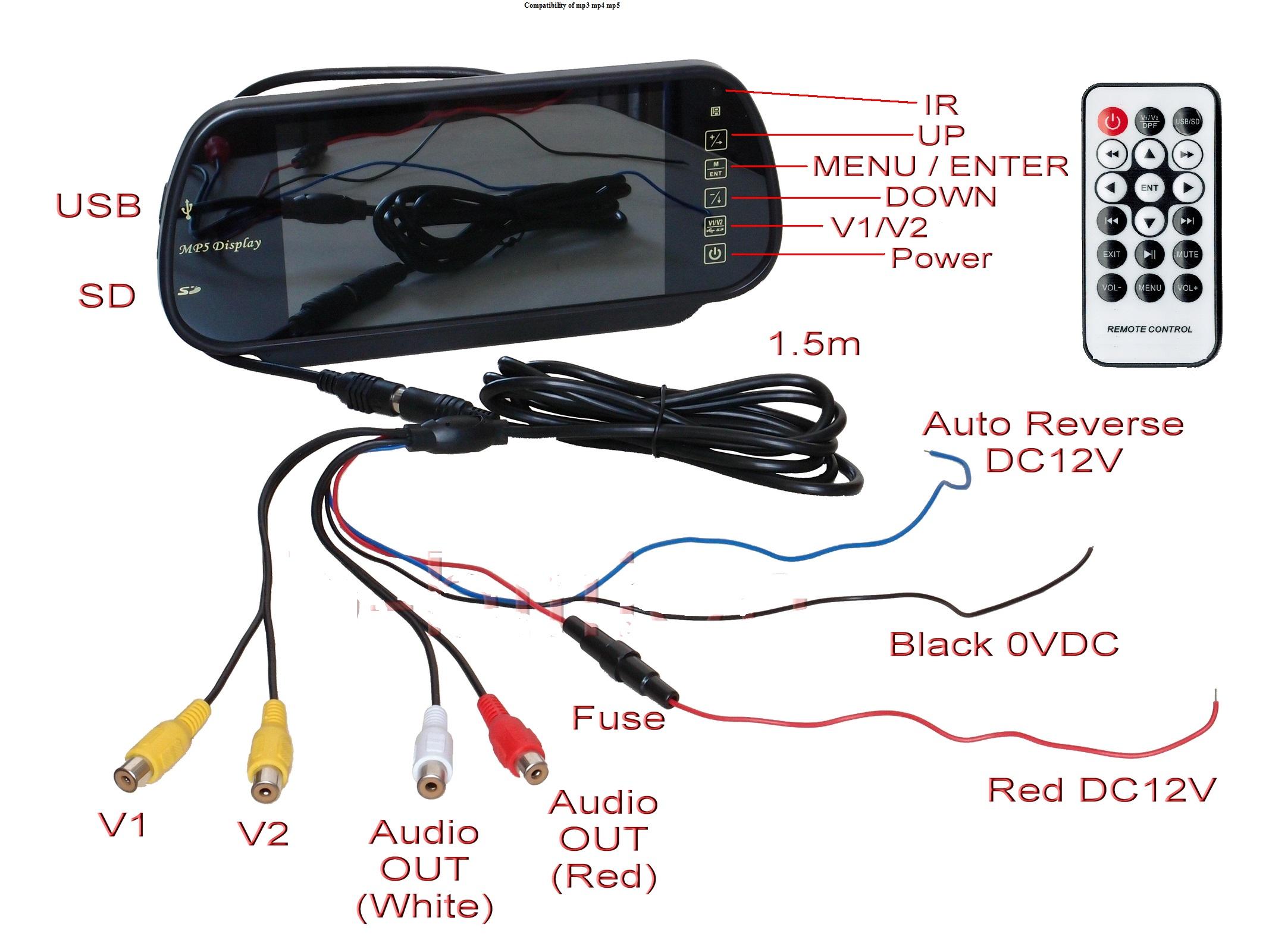 Monitor Lcd 7 U0026 39  Na Lusterko  Kamera Cofania 8led