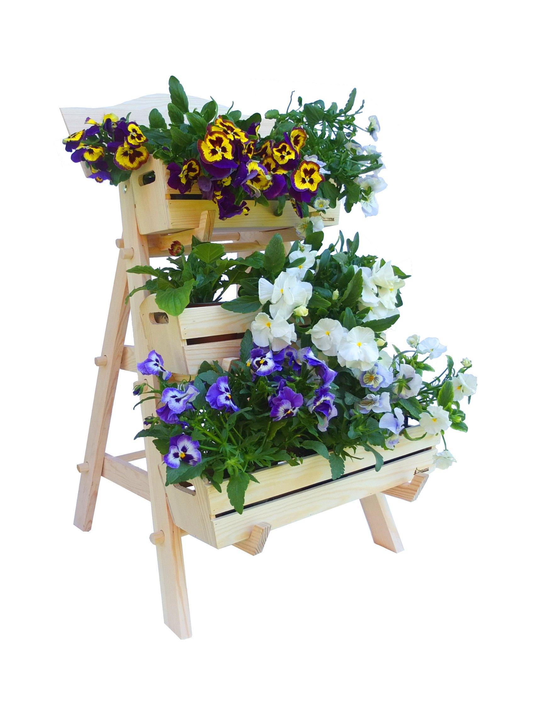 Kwietnik Drewniany Stojak Na Kwiaty Dekoracja 7190363499