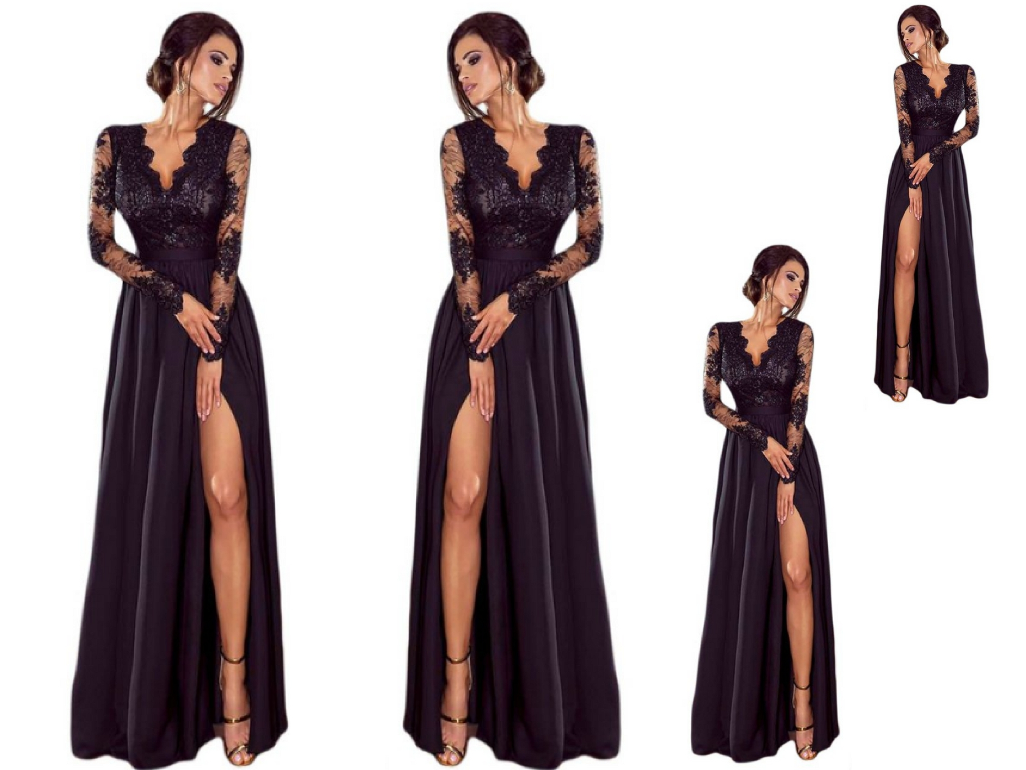 6151170129 Sukienka koronkowa czarna długa wesele  38 - 7114314150 - oficjalne ...