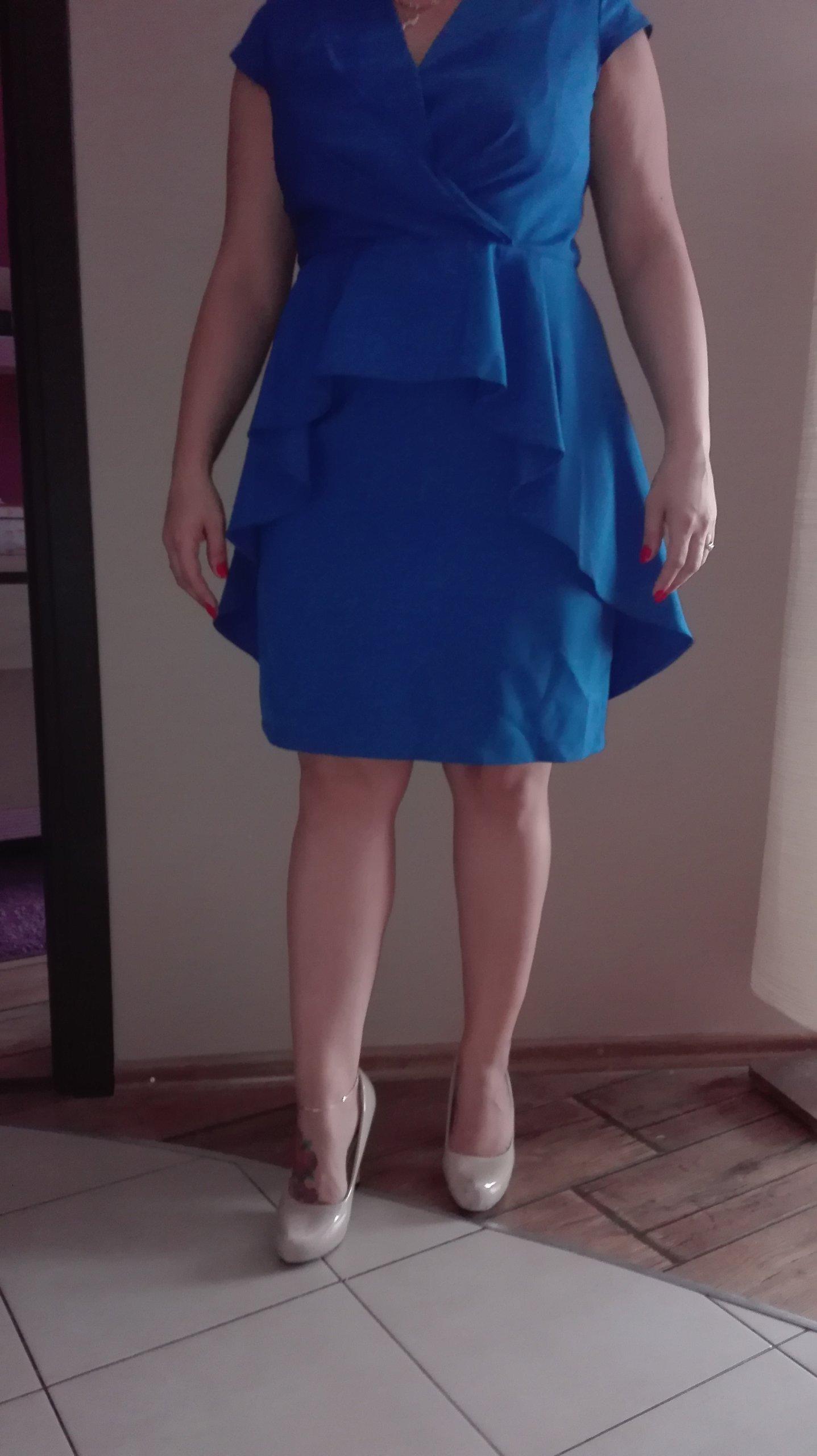 9fed925aab sukienka z baskinką niebieska 44 wesele - 7151905774 - oficjalne ...