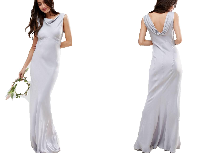 def286d439 szara satynowa suknia syrena maxi M 38 - 7505467739 - oficjalne ...