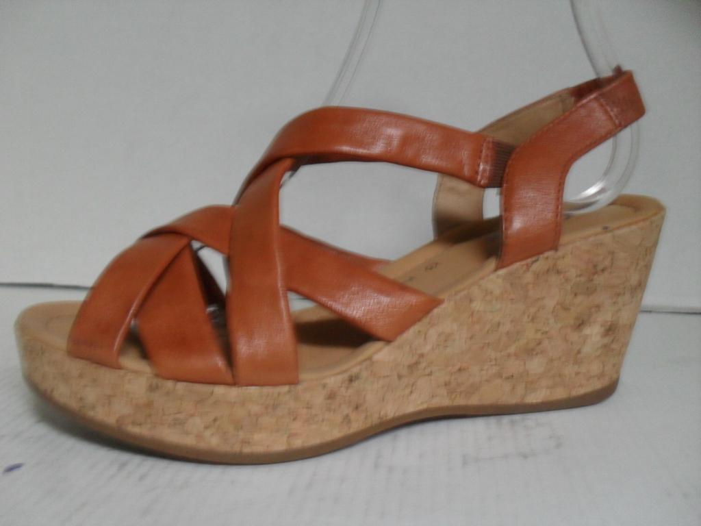 Sandały damskie na koturnie koturny Taupage skóra naturalna