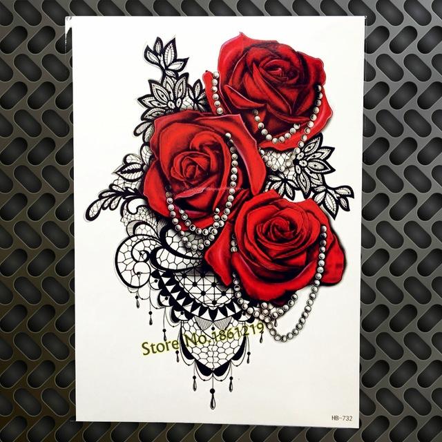 Tatuaż Zmywalny Czerwone Róże I Czarna Mandala 7338938211