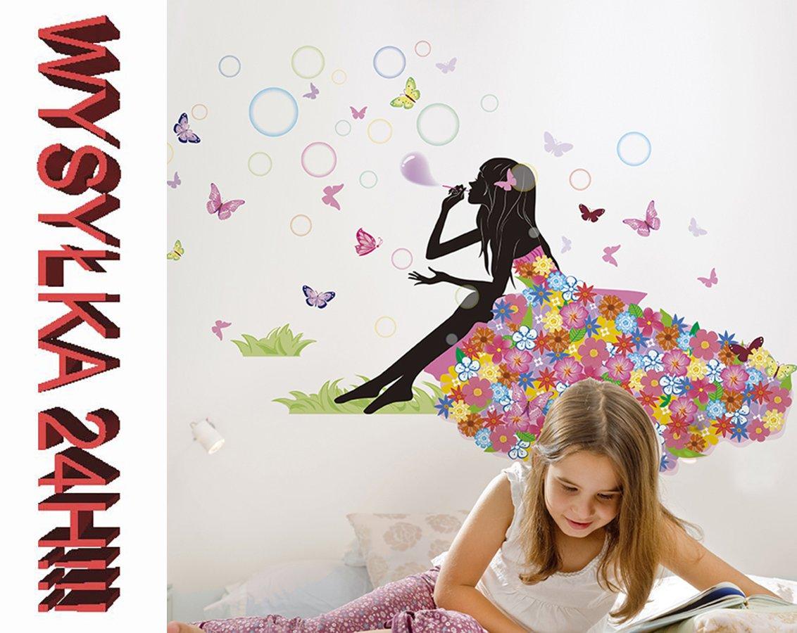Naklejka Na Sciane Elf Dziewczynka Kwiaty Motyle 7517628954