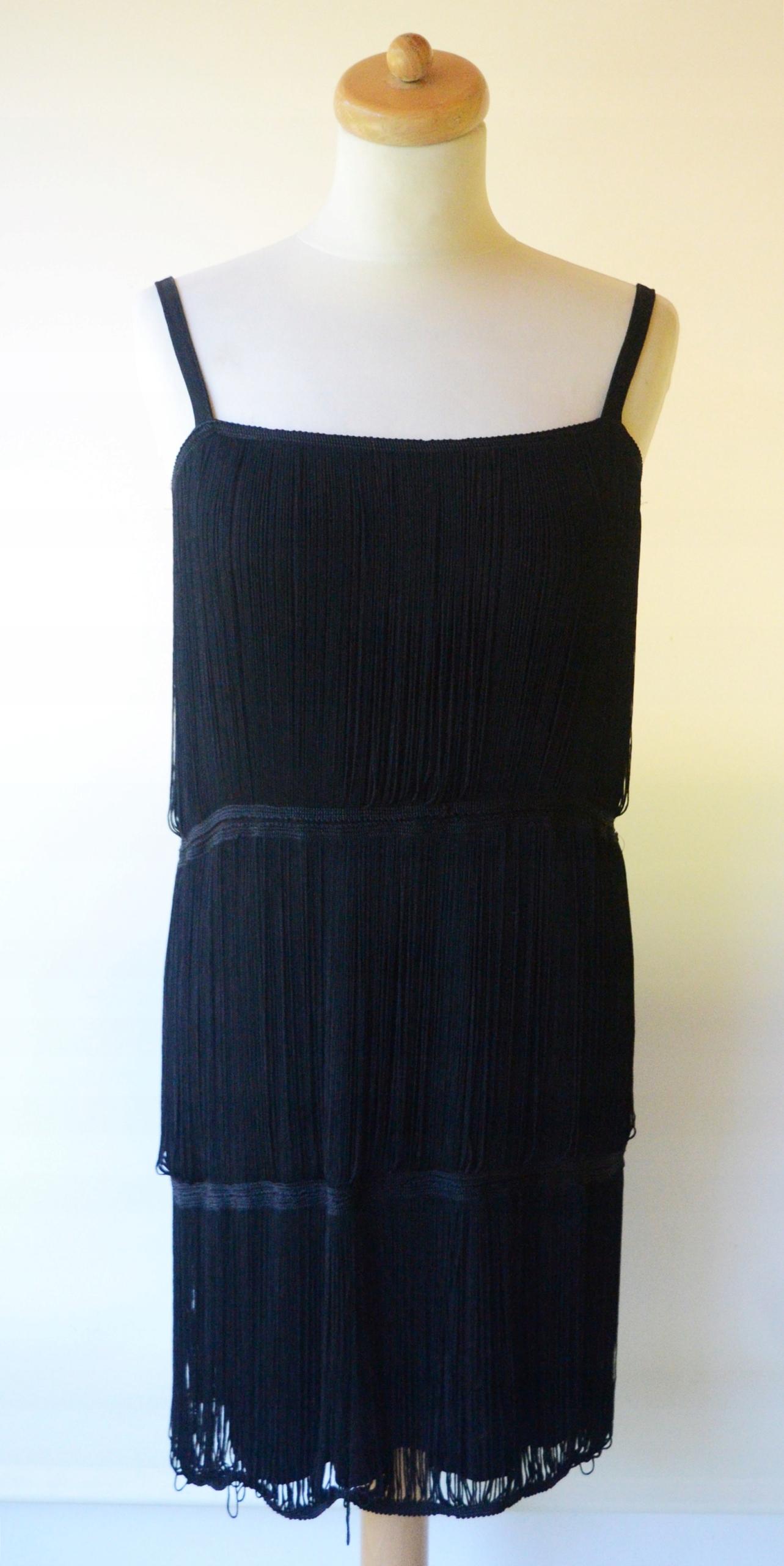 ff9ca058a1 Sukienka Czarna Frędzle H M S 36 Frędzelki - 7560467145 - oficjalne ...