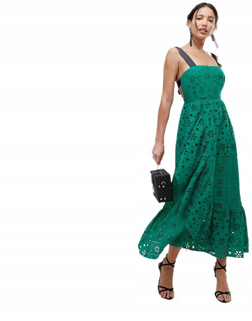 2d86894f268b7c sukienka MAXI zielona WYCIĘCIA ażur 3XL 46 - 7438544227 - oficjalne ...