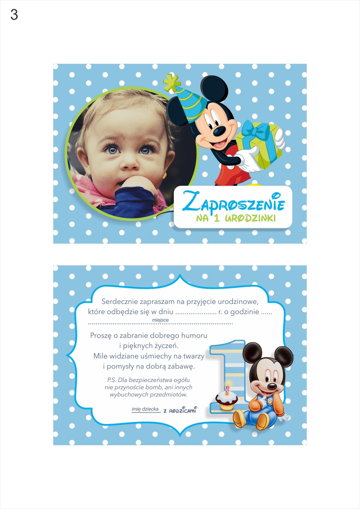 Zaproszenie Urodziny Zdjęcie Myszka Mickey Minnie 7351400053