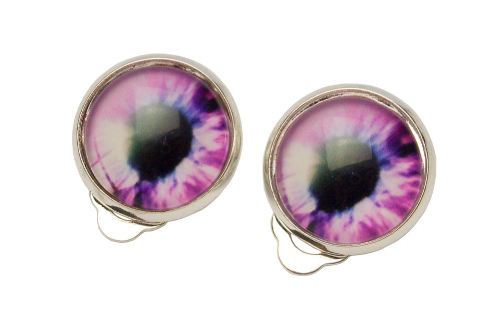 Klipsy kaboszon 14mm oko różowe