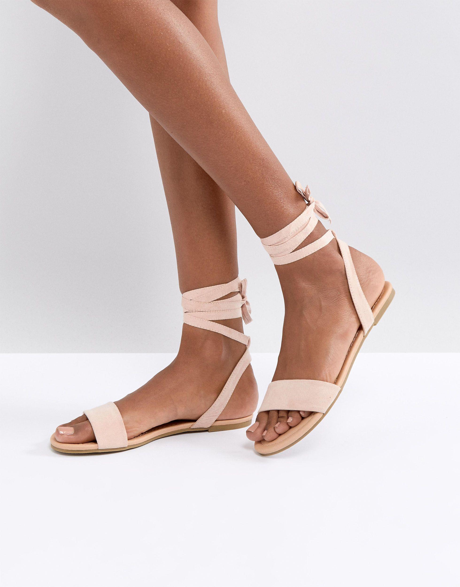 02aefd9a3af837 Wiązane różowe sandały płaskie damskie 40 - 7331719469 - oficjalne ...