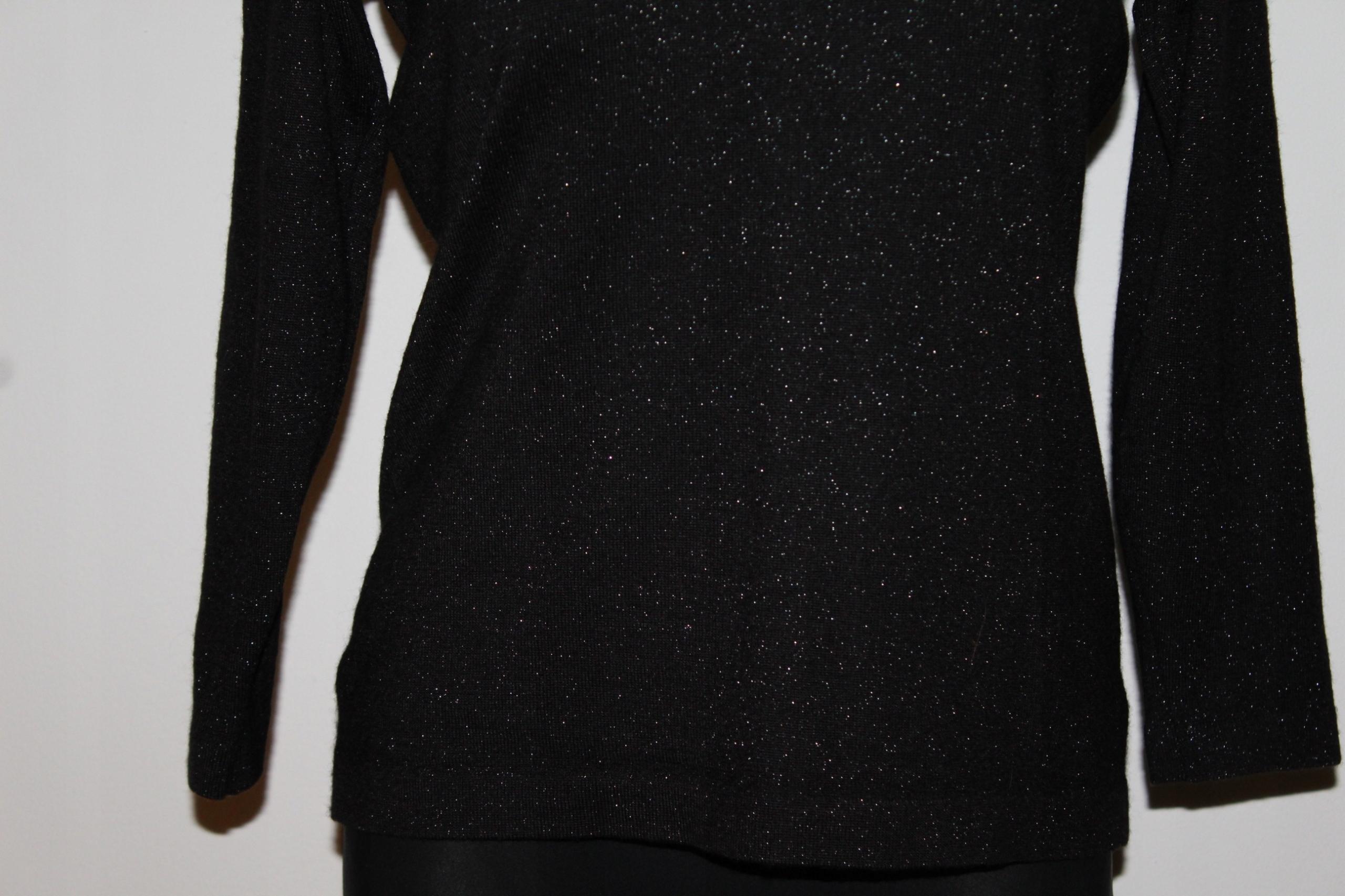 3b146c6d19ca55 czarny srebrna nitka sweter MARCEL CLAIR L/XL - 7465741164 ...