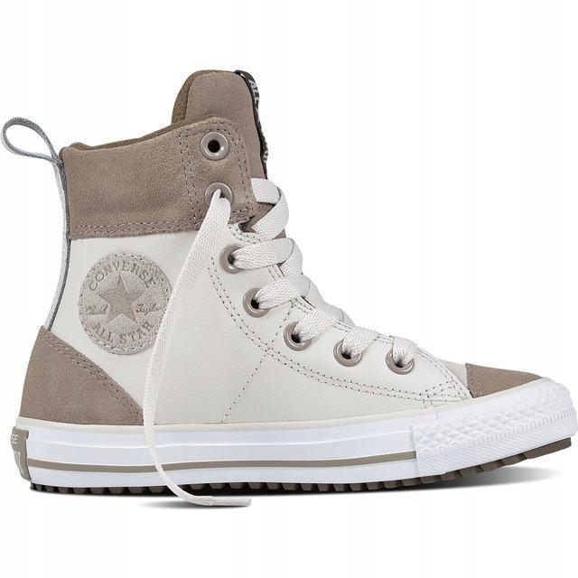 Białe Brązowy, beżowy Skórzane Converse r.35,5 7586266566