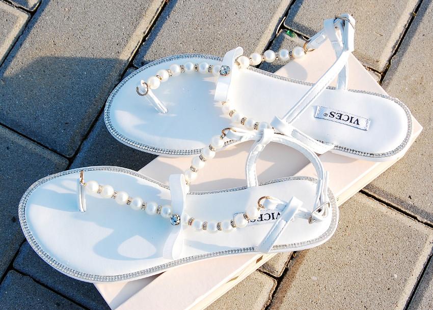 857d441757179 Sandały japonki z perełkami cyrkonie białe 39 - 6828976348 ...