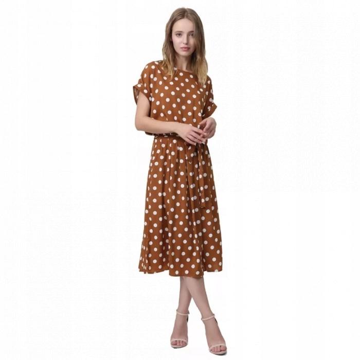 e28efd5a19 Sukienka midi w groszki jak Mango rozmiar L - 7650000726 - oficjalne ...