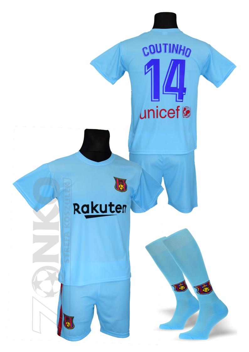 3919f9675 COUTINHO Barcelona strój wyjazdowy + getry M inne - 7193468706 ...