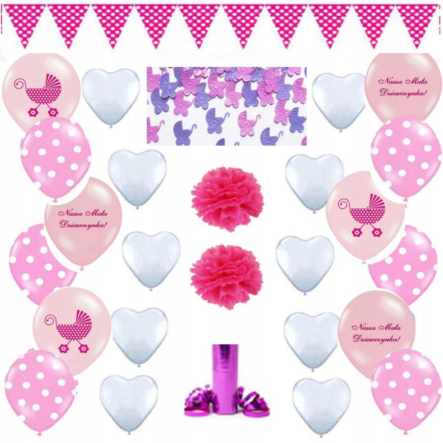 cae604b32342d9 Balony CHRZCINY dekoracja CHRZEST dziewczynka - 7439219623 ...