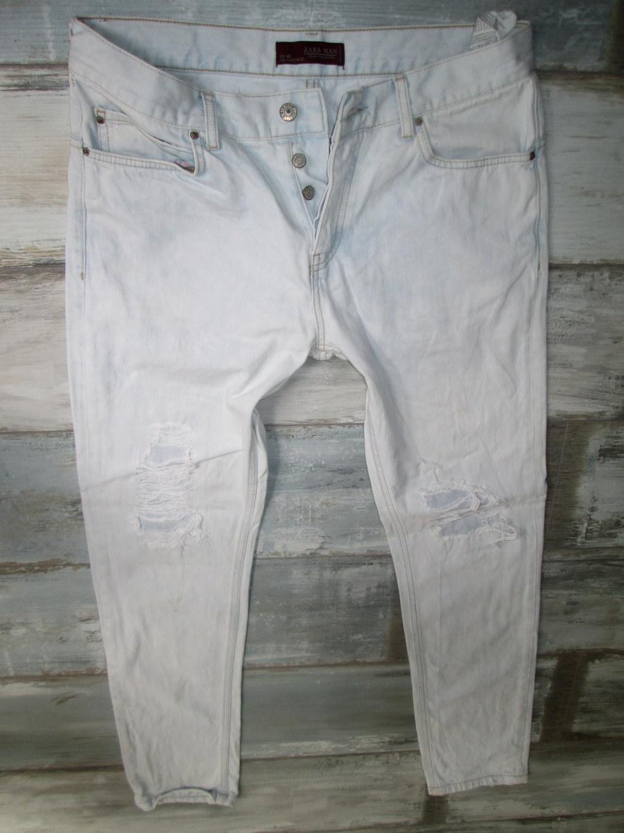 ZARA przecierane jeans męskie DZIURY RURKI W34L34