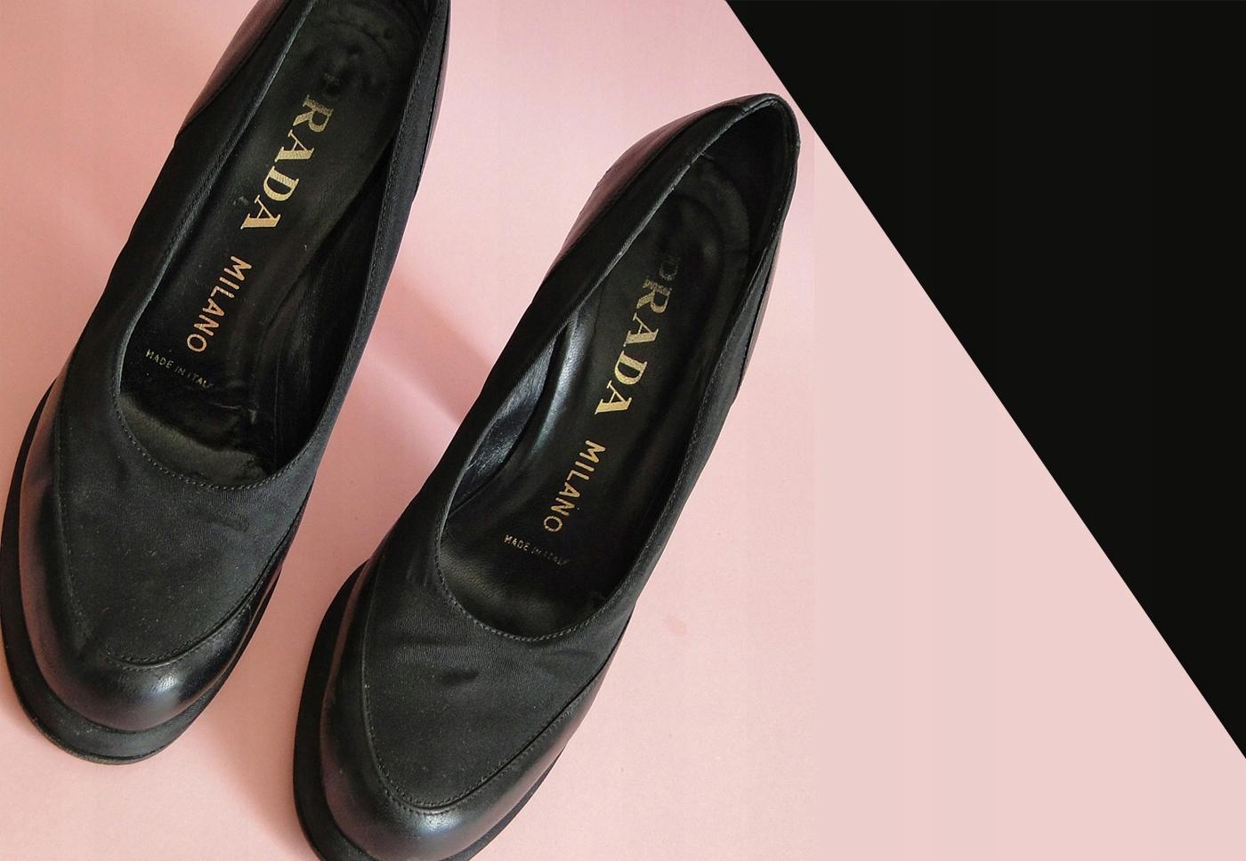 ea7d53cd5ebe6 PRADA buty obcas, platforma skóra czarne R.37, - 7518812842 ...