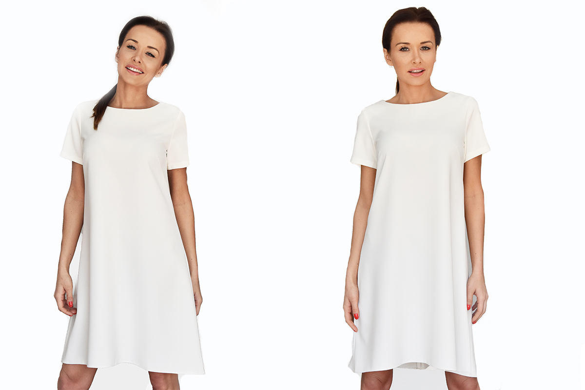 105885ac75 Sukienka Trapezowa Asymetryczna Biała Ecru 34-42 - 6819577325 ...