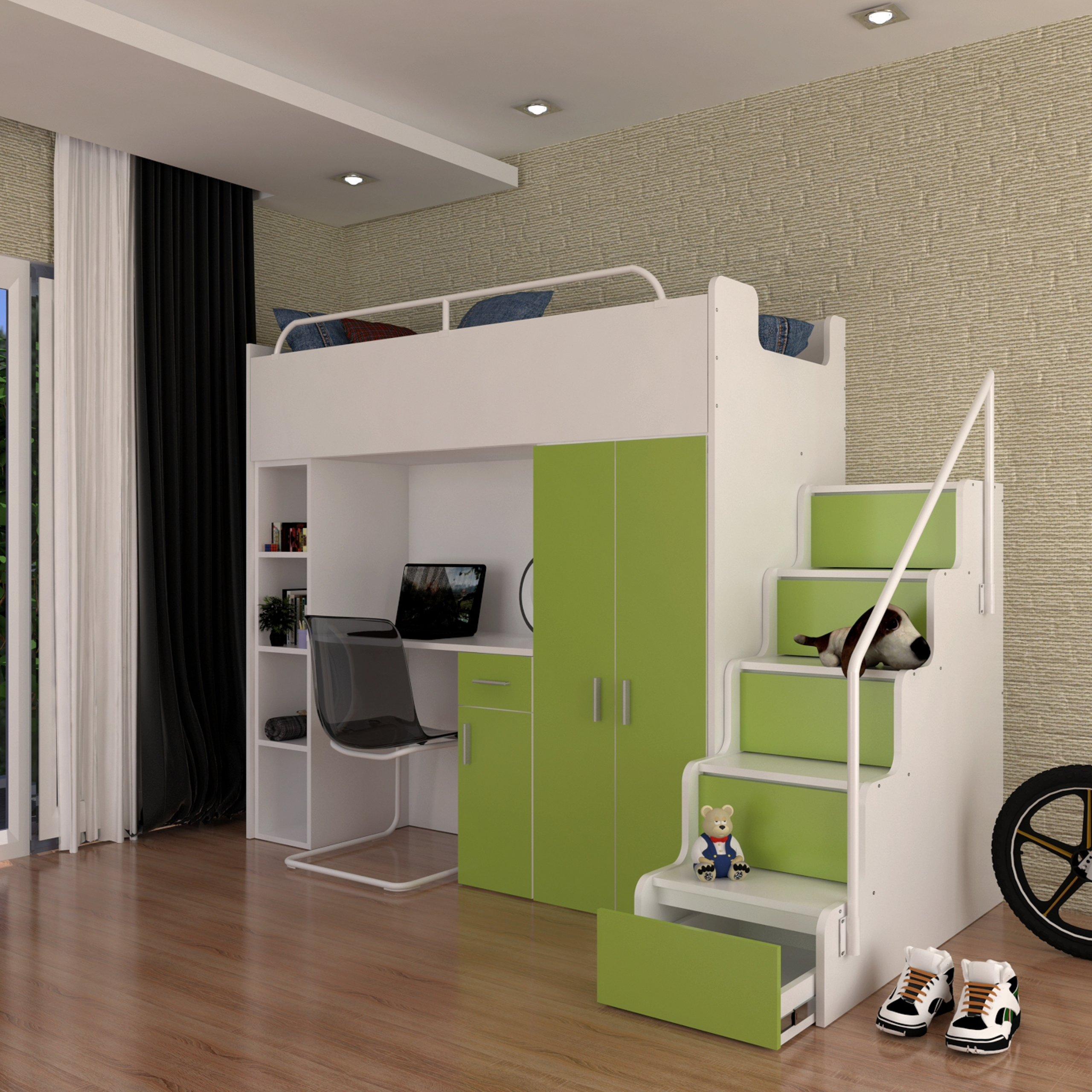 łóżko Piętrowe Z Szafą I Biurkiem 9 Kolorów 7408881117 Oficjalne