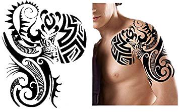 Tatuaż Zmywalny Wielki Klatka Ramię Aztek Duży Art