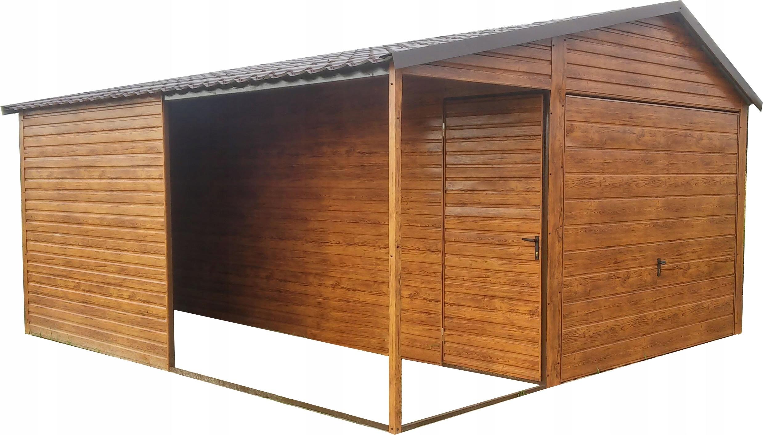 Garaż Blaszany Garaże Drewnopodobny Nowość 7483349169