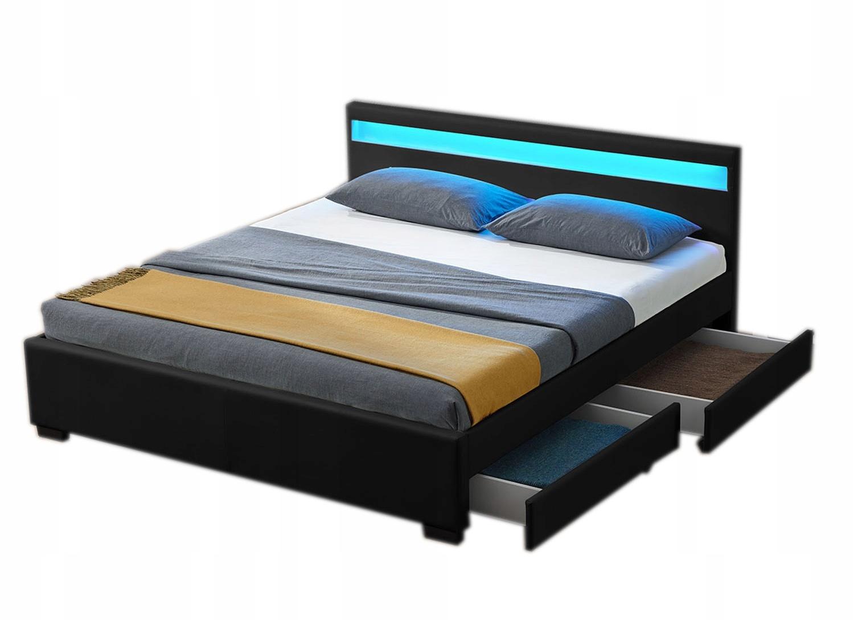 łóżko Podwójne Tapicerowane 140x200 Z Szufladami 6999690718