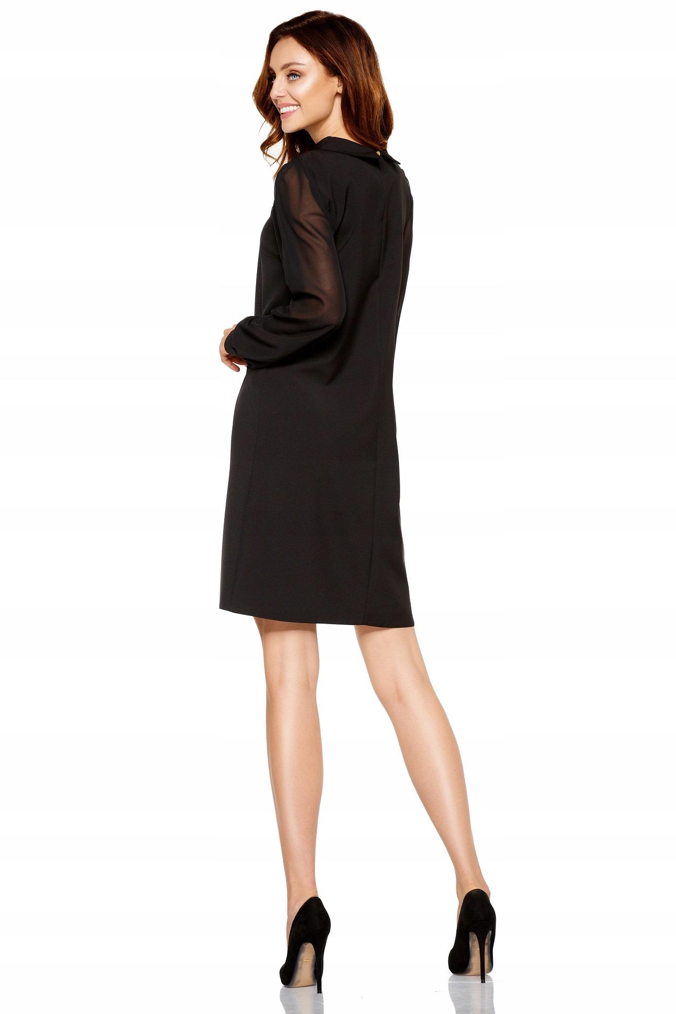 bee43291 Elegancka sukienka z kołnierzykiem czarna 40 L Lem - 7686302420 ...