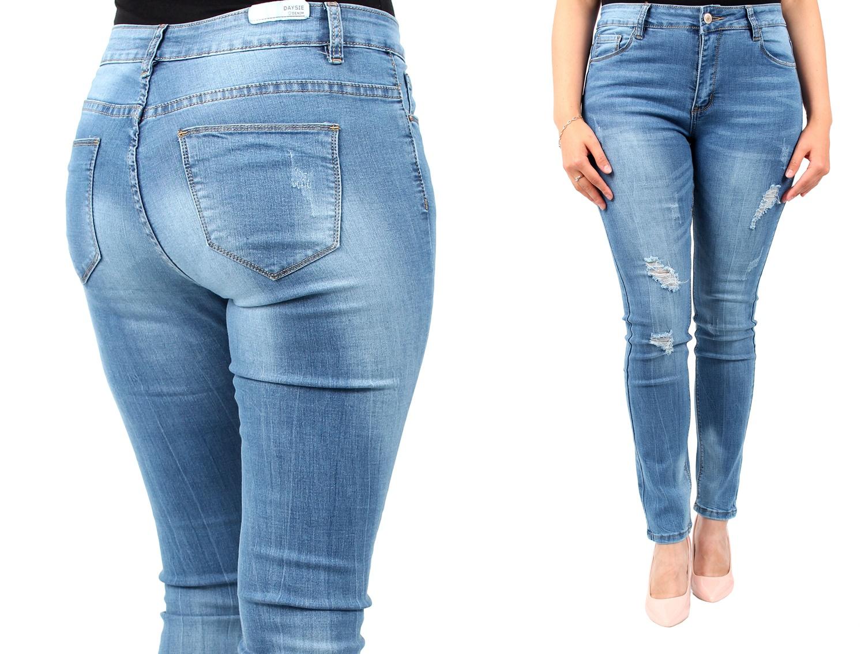 Modne ubrania DAMSKIE spodnie JEANS duże rozmiary 38, 40 - 6926610225 QF98