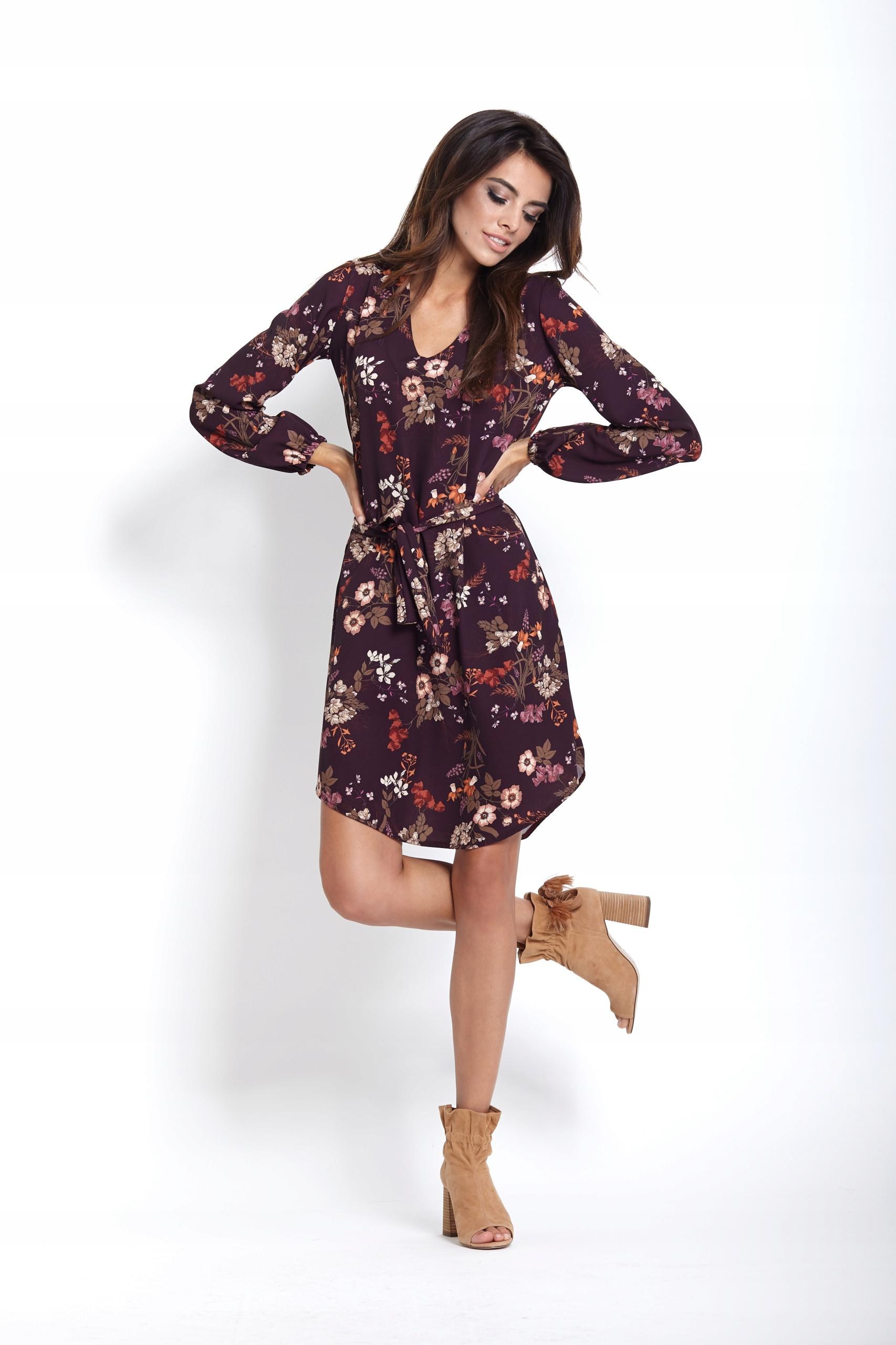 b7d250d3c4 Sukienka o prostym kroju - Karina - kwiaty M - 7674260043 ...